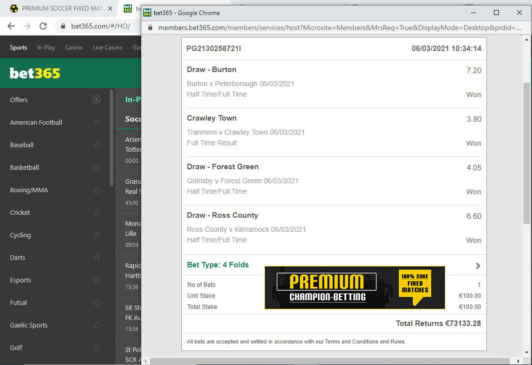 weekly socccer fixed matches